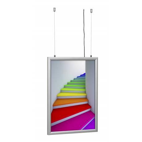 Cadre LED double face suspendu 8070 - Portes affiches intérieur